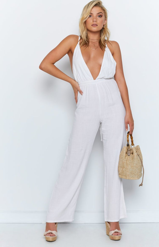 latest collection usa cheap sale best price Seville Linen Jumpsuit White