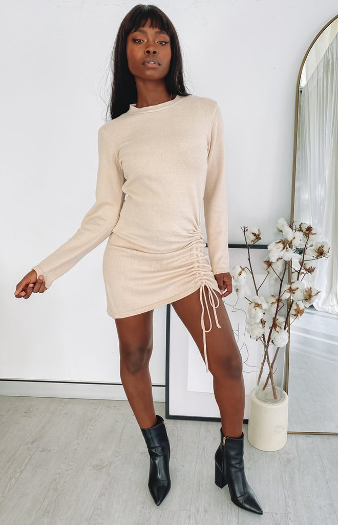 Smooth Move Long Sleeve Dress Beige 1