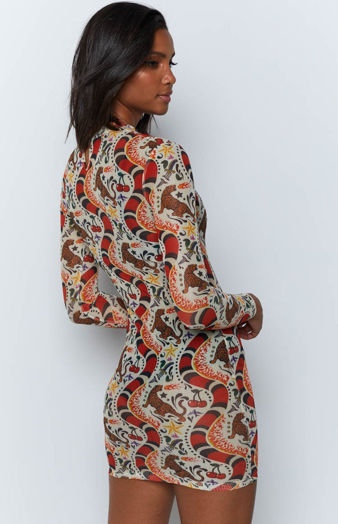 Snakes And Ladders Mesh Festival Dress Tattoo Print Beginning Boutique Us