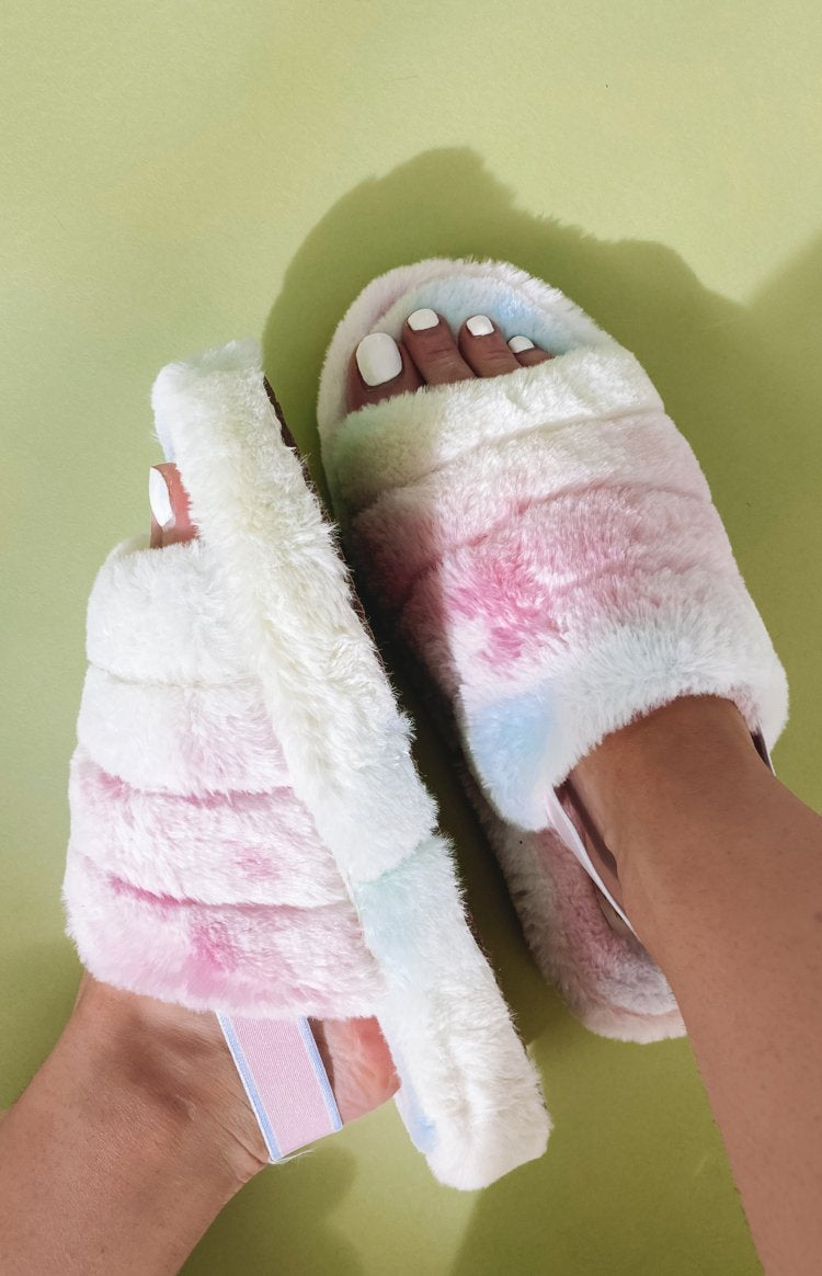 Snuggles Fluffy Sandals Tie Dye