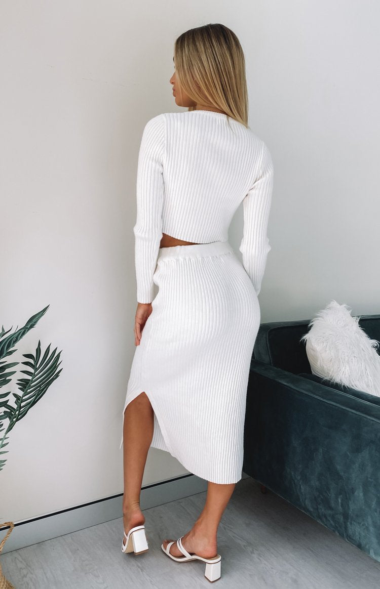 Solara Ribbed Midi Skirt White