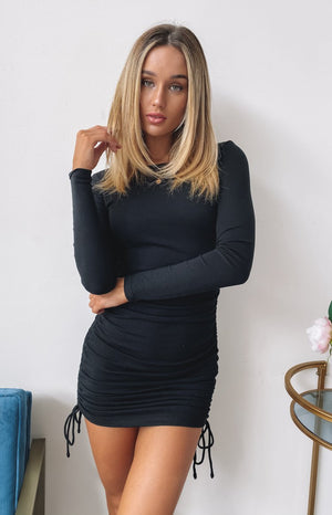 Soul Mate Long Sleeve Dress Black