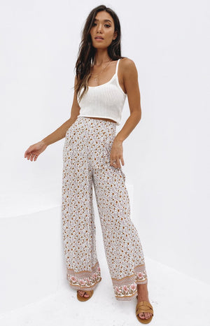 Sunflower Boho Print Wideleg Pants