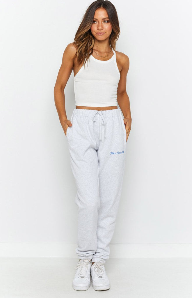 Take Care Track Pants White Marle 4