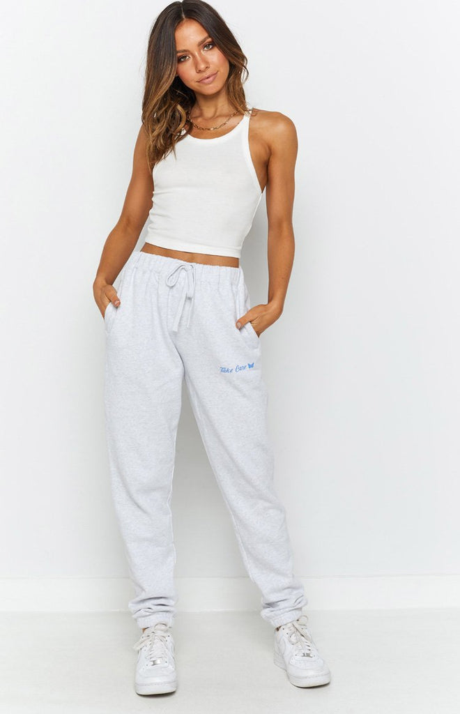 Take Care Track Pants White Marle 5