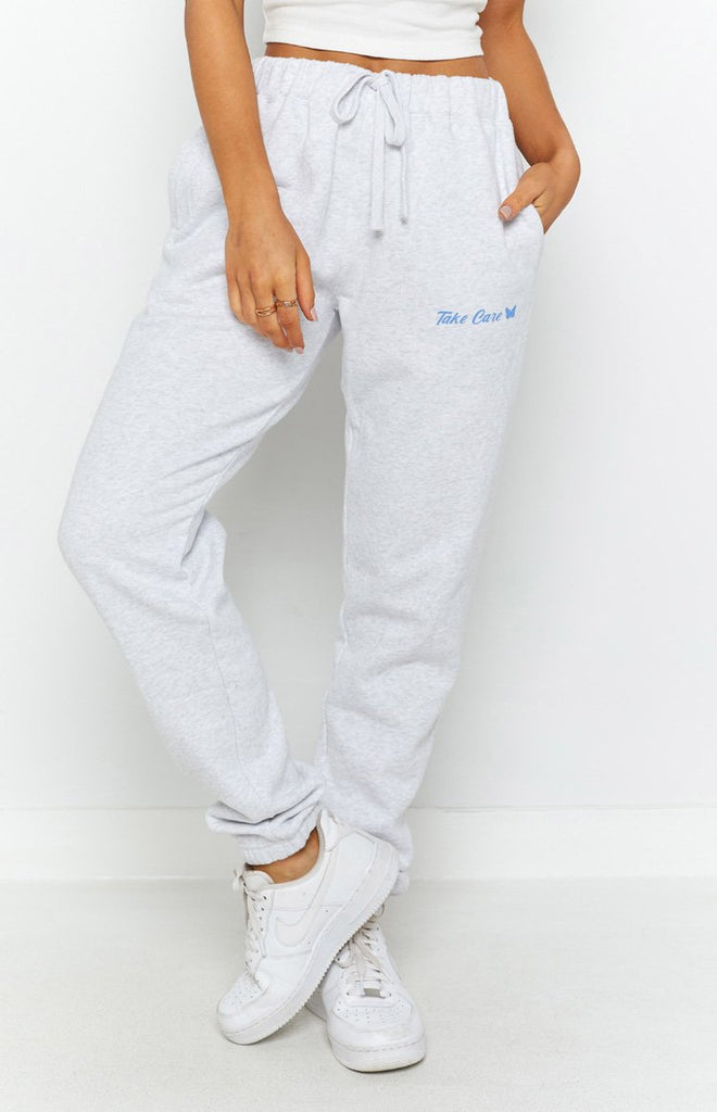 Take Care Track Pants White Marle 6