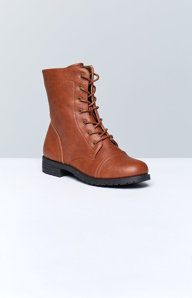 Tasha Lace Up Boots Camel