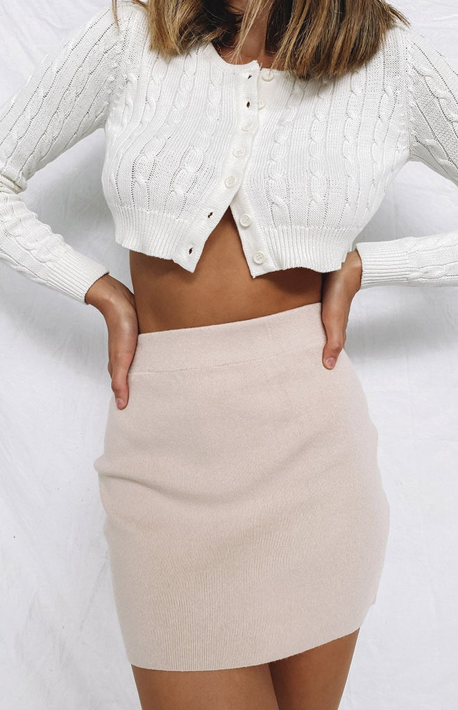 Tell Me Knit Skirt Beige 8