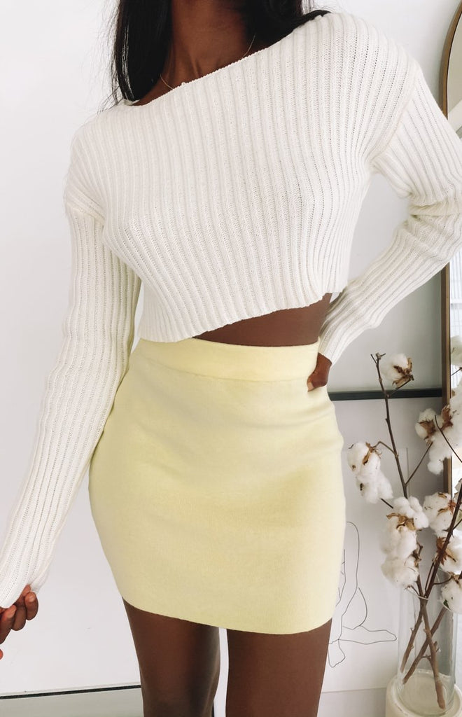 Tell Me Knit Skirt Yellow 8
