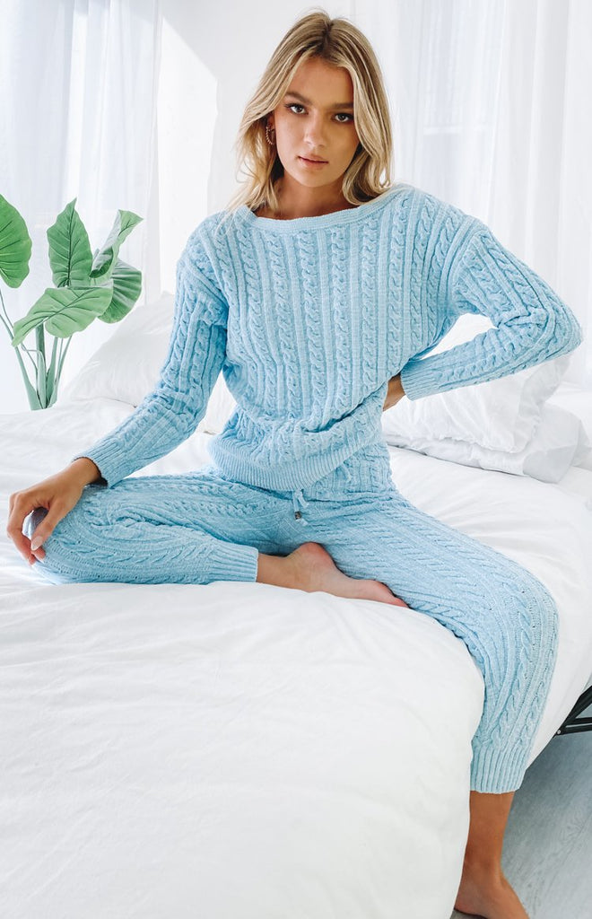 The Alps Cable Knit Jumper Blue 3