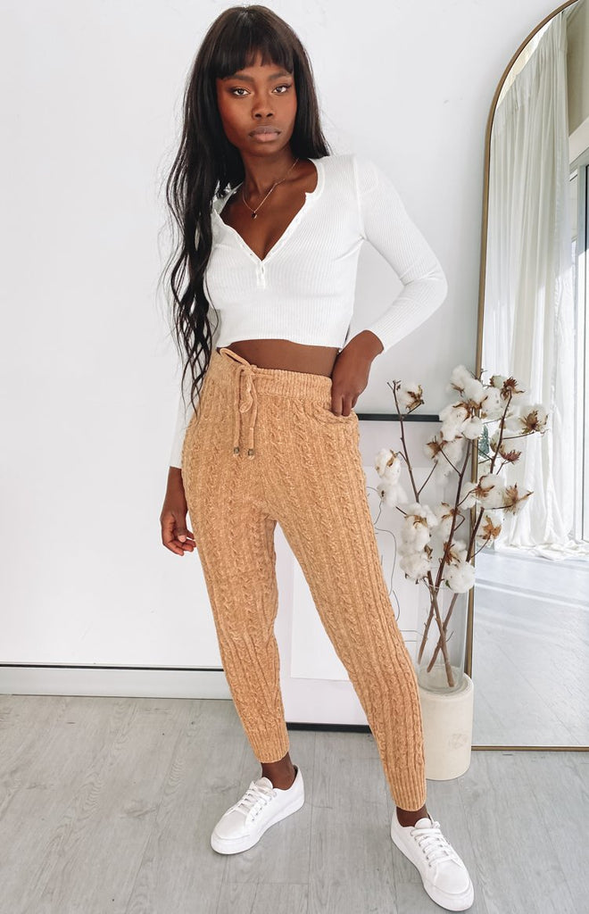 Queenstown Cable Knit Pants Tan 5