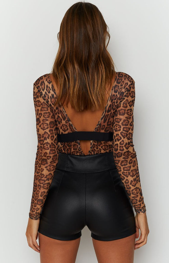 The Eye Of The Tiger Mesh Long Sleeve Bodysuit Leopard 9