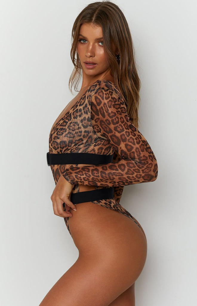 The Eye Of The Tiger Mesh Long Sleeve Bodysuit Leopard 10