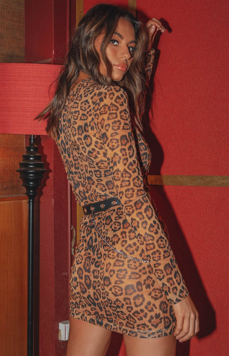 Tomorrowland Mesh Dress Brown Leopard