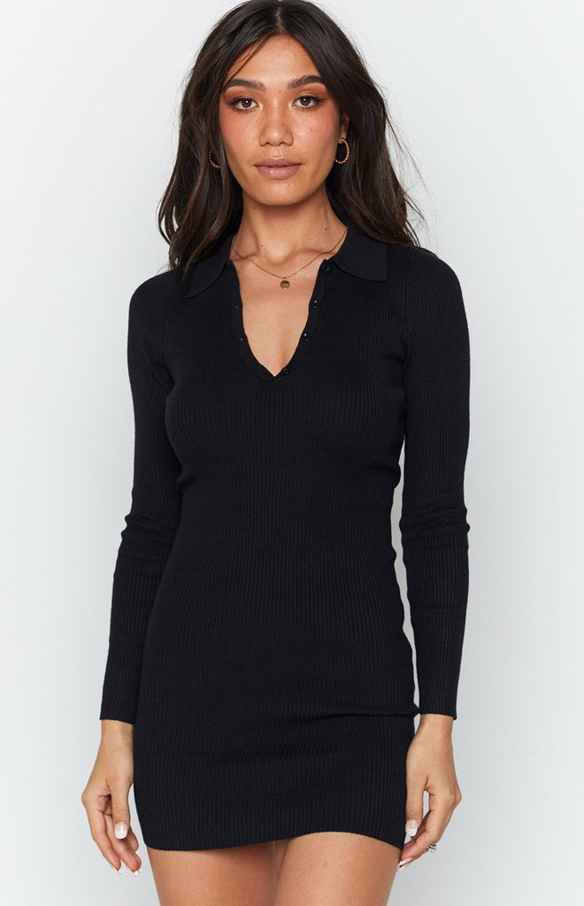 Underwood Collared Ribbed Dress Black 4