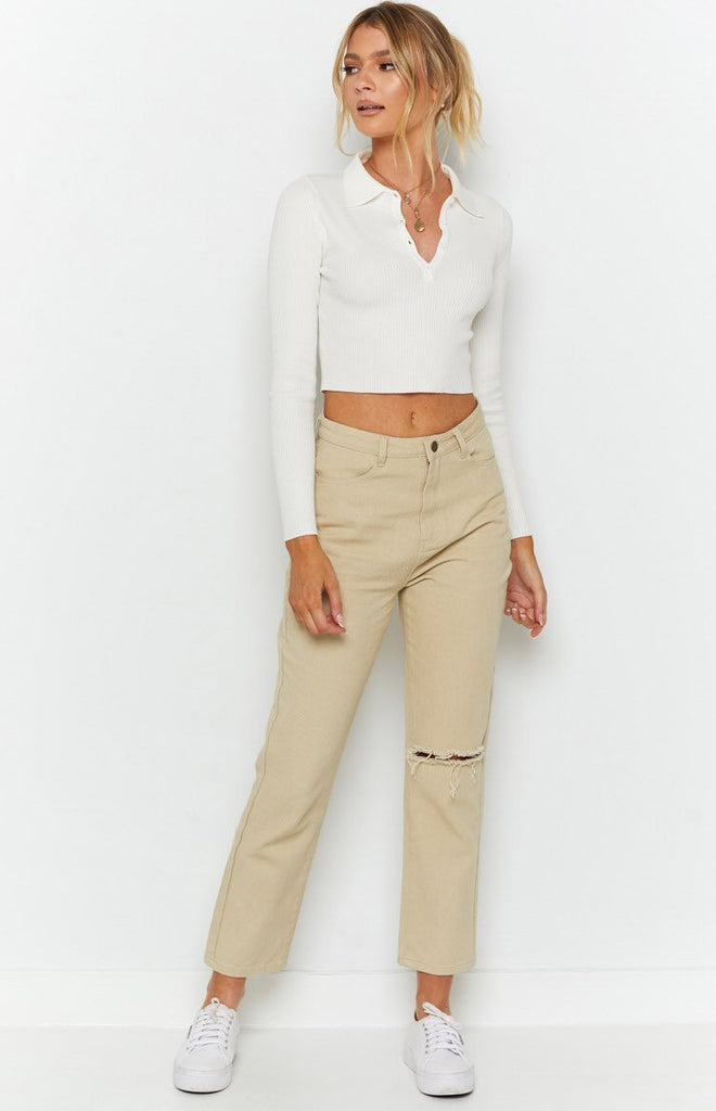 Underwood Collared Ribbed Top White 5