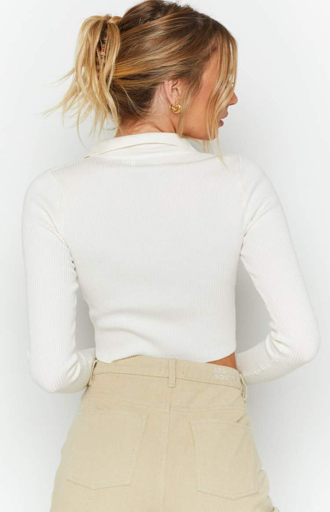 Underwood Collared Ribbed Top White 8