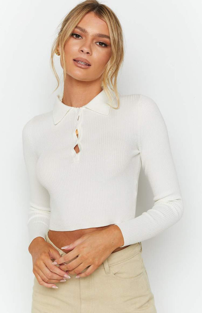 Underwood Collared Ribbed Top White 9