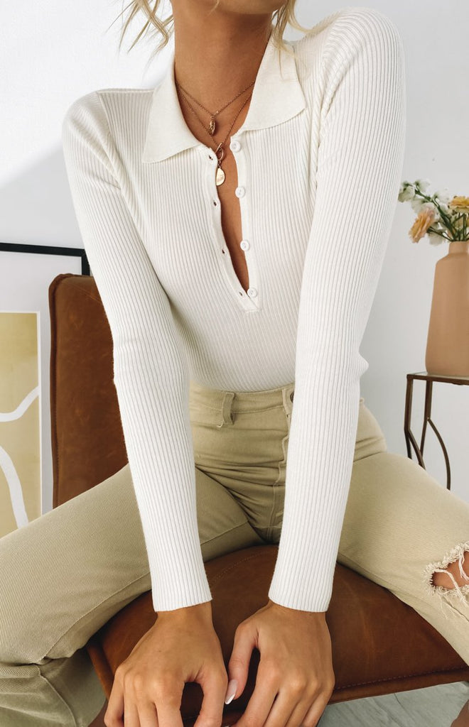 Underwood Collared Ribbed Top White 11