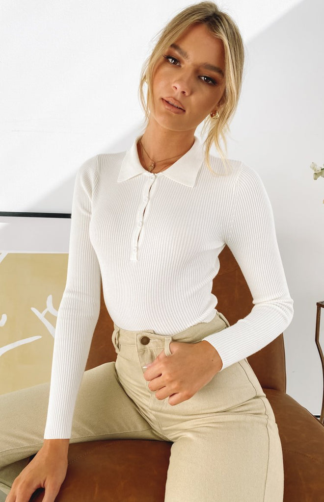 Underwood Collared Ribbed Top White 3