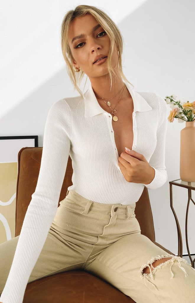 Underwood Collared Ribbed Top White 4