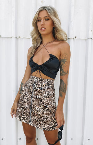 So Peachy Crop Black Satin
