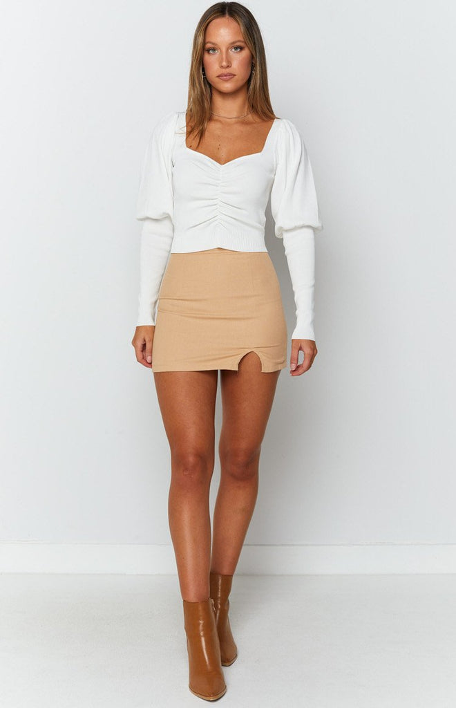 Violet Swire Long Sleeve Knit White 4