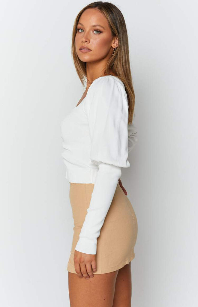 Violet Swire Long Sleeve Knit White 6