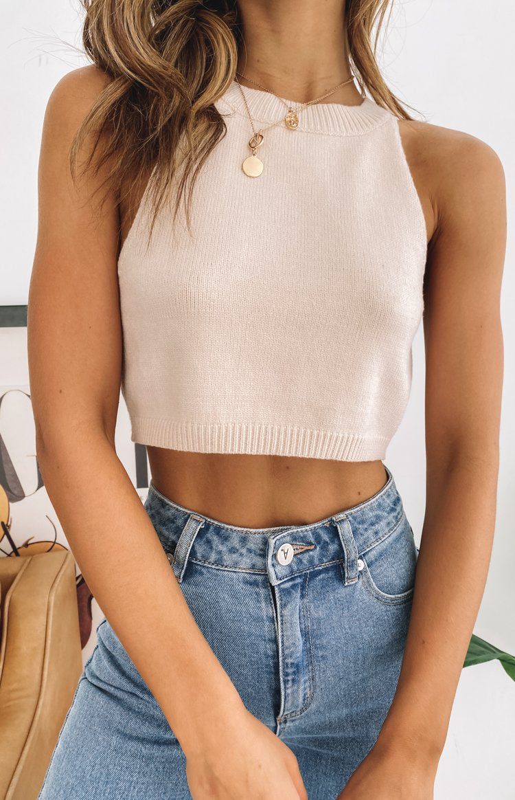 Viva Forever Knit Crop Top Beige
