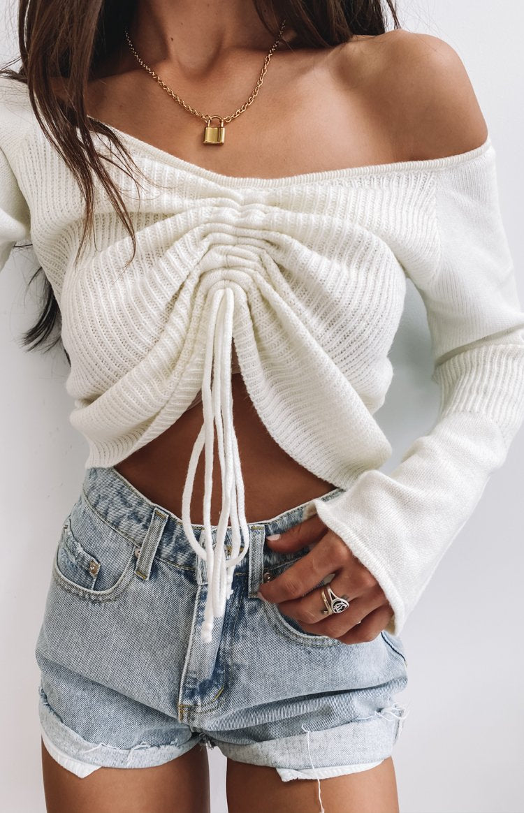 Winter Nights Long Sleeve Knit Crop White