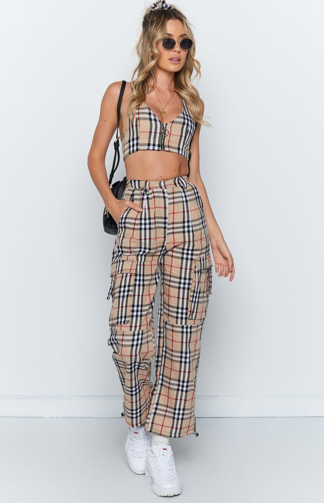 Yours Truly Crop Nude Plaid