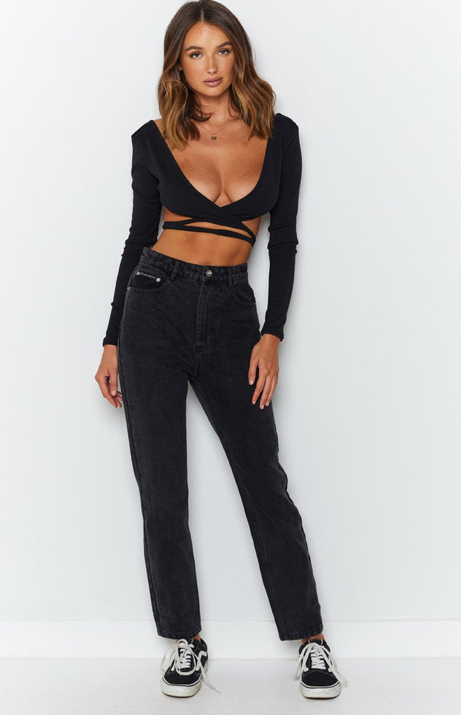By Dyln Harlow Mom Jeans Black 4