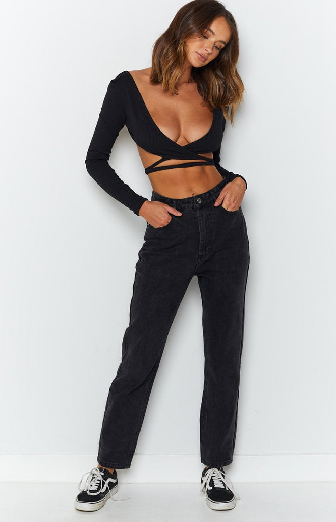 By Dyln Harlow Mom Jeans Black 5