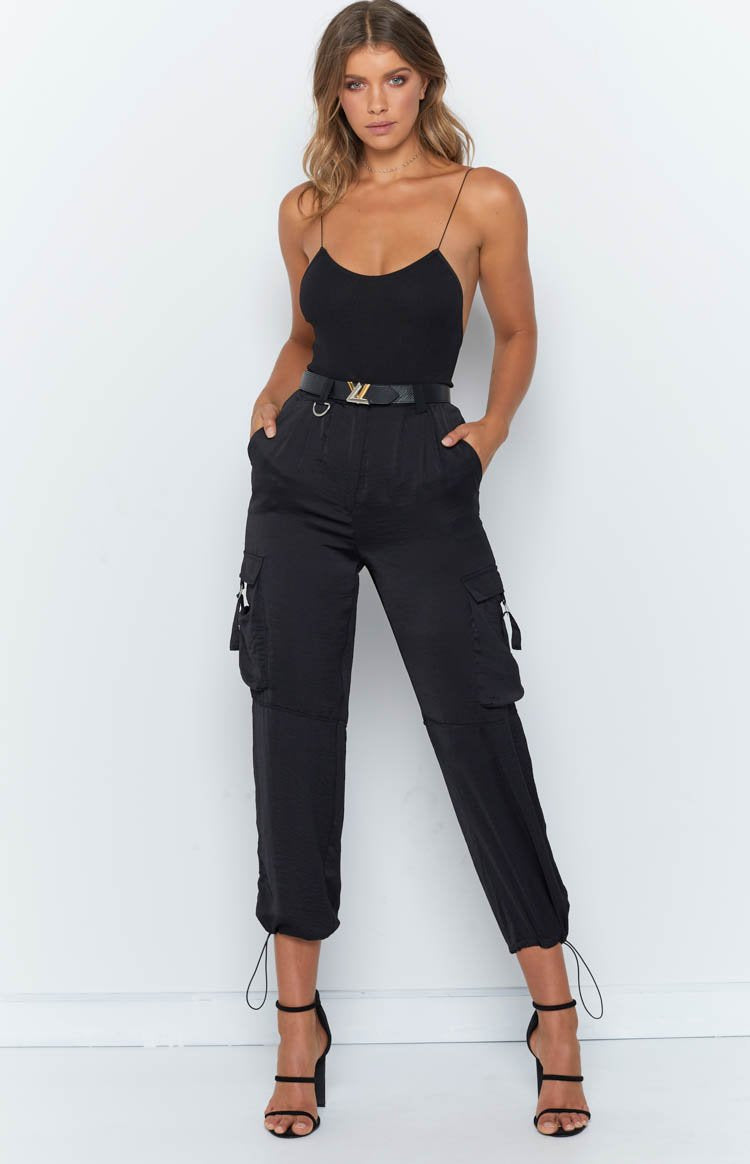 Yours Truly Silky Cargo Pants Black