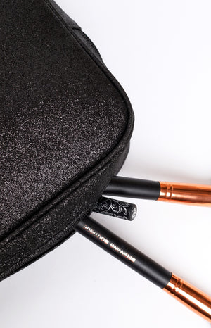 Glimmer Cosmetic Case Black Glitter