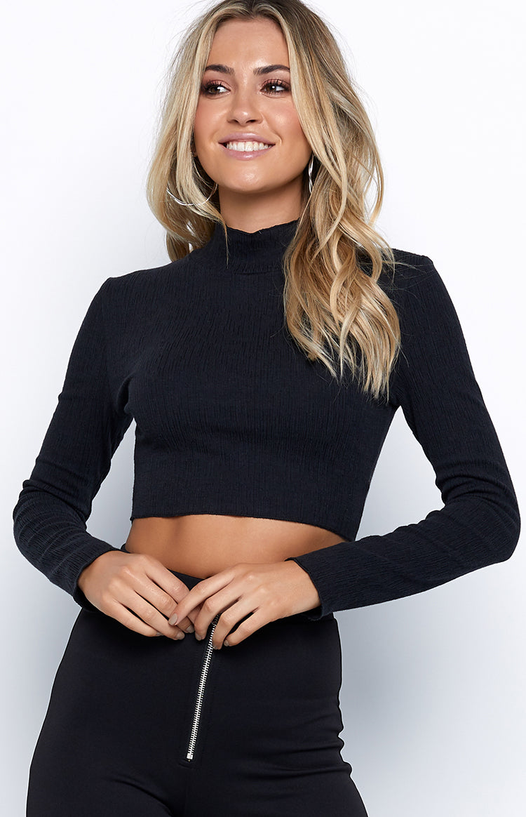 Emma Long Sleeve Crop Black