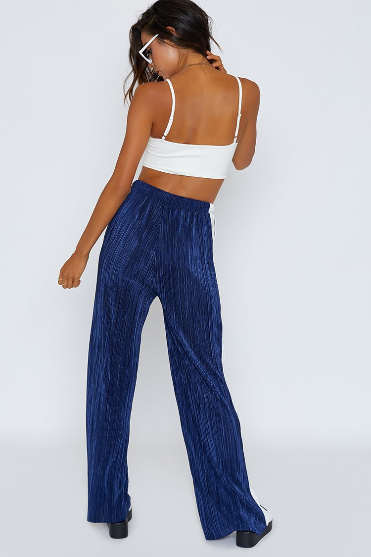 Lennon Pleated Track Pants Navy with White Stripe