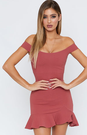 Abigail Off Shoulder Dress Rose