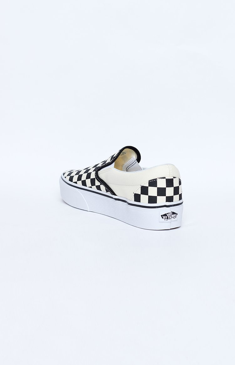Vans Classic Slip On Platform Sneakers Checkerboard Black & White