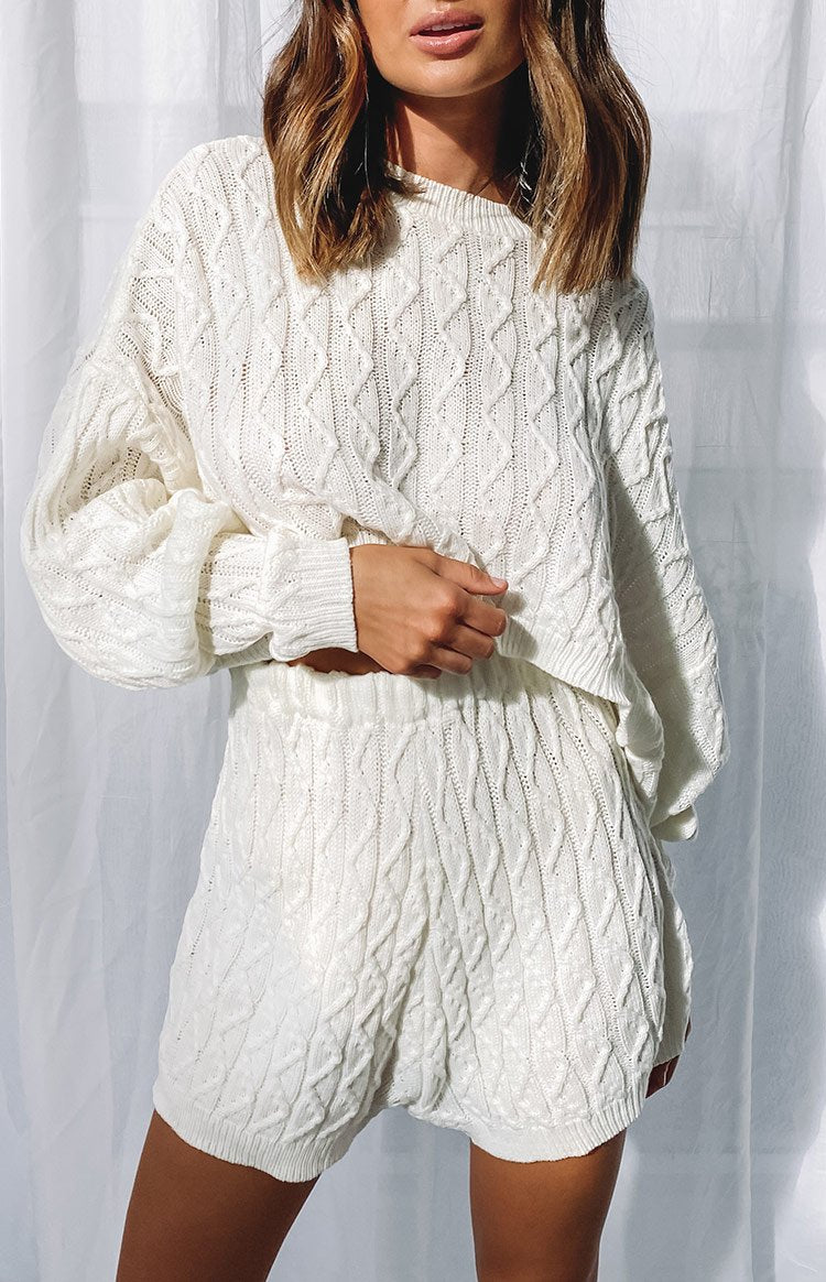 Coveted Knit Set White