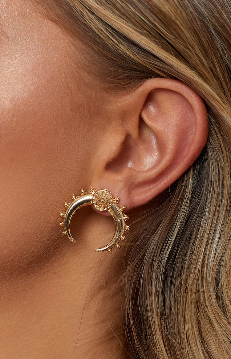 Eclat Morning Crescent Earrings Gold