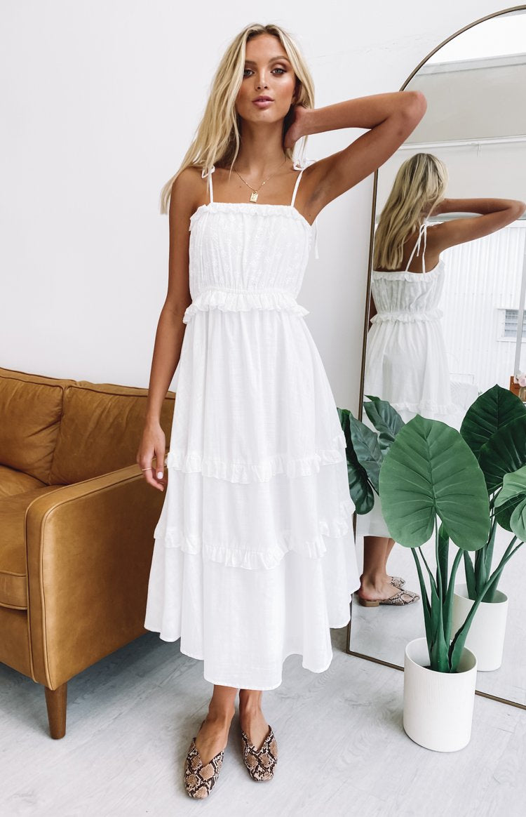 color-white Elodie Midi Dress White
