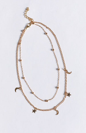 Eclat Starry Moon Necklace Gold