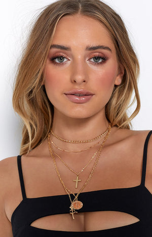 Eclat Adam And Eve Layered Necklace Gold