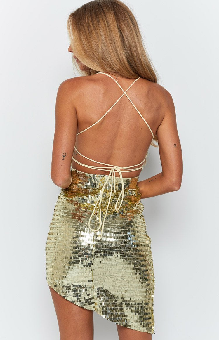 Lacey Backless Dress Champagne Sequin