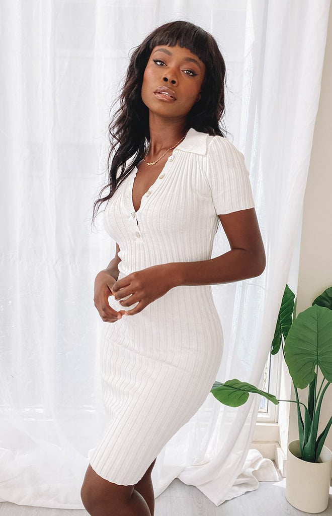 High Roller Ribbed Midi Dress White 14