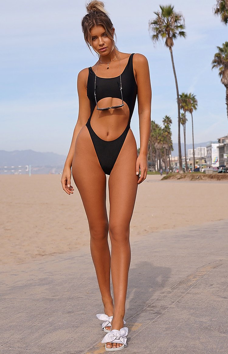 9.0 Swim San Andres Cut Out One Piece Metallic Black