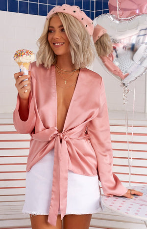 Boudoir Draped Blouse Blush