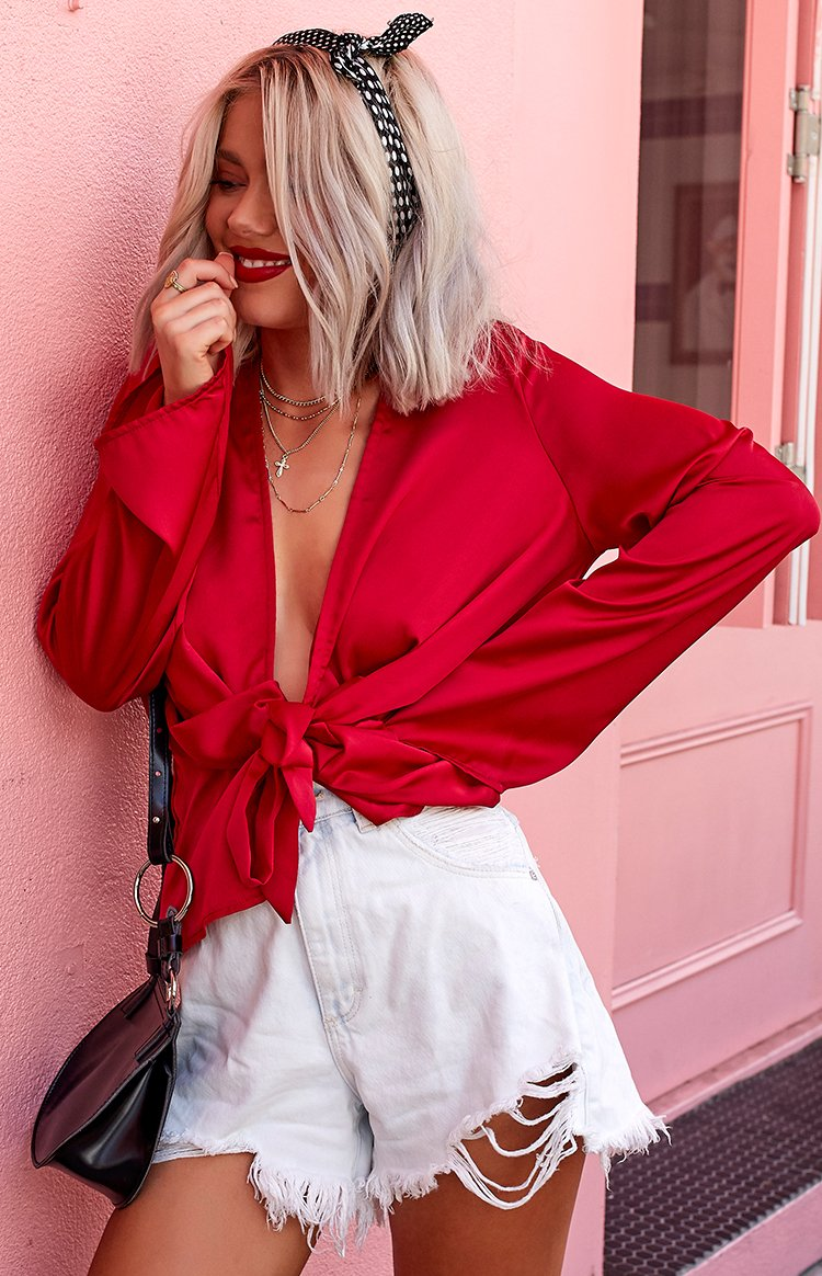 Boudoir Draped Blouse Red