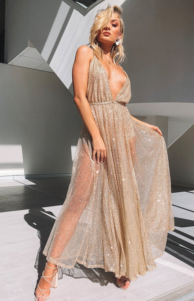 Zinna Glitter Maxi Dress Gold